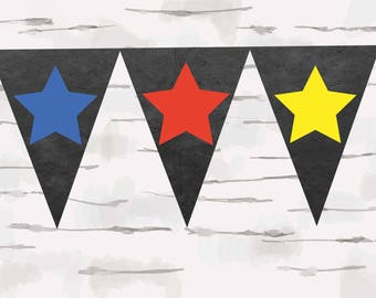 Chalkboard banner school supplies instant download teacher chalkboard banner stars red blue and yellow stars do it yourself banner solutioingenieria Image collections