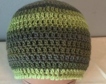 Crocheted Striped Wool Hat Beanie Unique Men Women Boy Girl Baby Children Toddler Newborn to Adult New Leaf