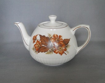 Vintage Ellgreave Tea Pot by Woo And Sons Alpine White Ironstone England