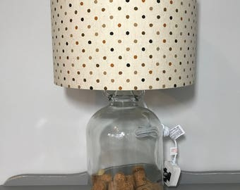 Rustic Spotty Print Drum Lampshade