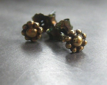Teeny Tiny Flower Earrings brass and sterling silver