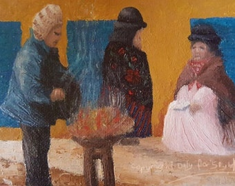 print of oil painting, people in traditional clothing, Bolivia