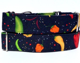 """Martingale, Dog Collar, 1.5"""" wide, CHILI PEPPER, fabric wrapped, Safety Collar, Greyhound Collar, Sighthound Collar, Adjustable"""