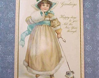 Darling Edwardian Era Little Girl Walking Dog Postcard by Raphael Tuck & Sons