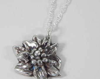 Floral Charm Necklace. Precious Metal Clay. Fine Silver Necklace. PMC. Fine Silver Charm. Oxidized Charm. Flower Necklace. Silver Pendant.
