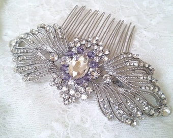 Big amethyst crystal hair comb,  Victorian silver hair comb,  Vintage inspired amethyst purple wedding hair comb, Victorian amethyst hair 23