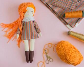 "David Bowie, Lady Stardust Handmade doll, girl doll, Cloth doll, Hand embroidery, 15.5"""