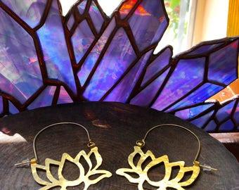 brass lotus flower earrings, metal flower hoop earrings, large lotus flower hoop earrings
