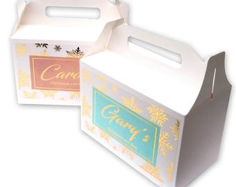 Personalized gold foil printed Christmas eve box custom name white box and stickers