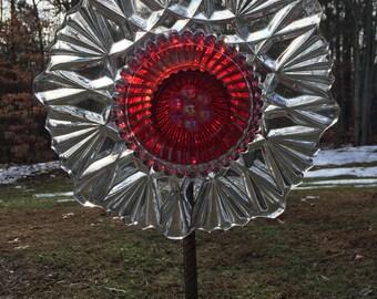 Ruby Red & Clear Flared Cut Glass Garden Flower Repurposed Suncatcher Yard Art