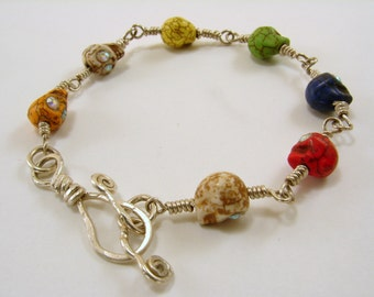 Skull Bracelet Sterling Silver Wire Wrapped Multicolor sterling handmade clasp skulls with Swarovski eyes
