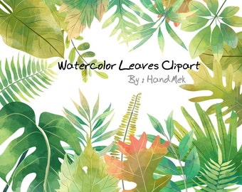 Watercolor Leaves Clipart,greenery leaf clipart instant Download PNG file - 300 dpi.
