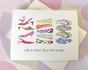 Greeting Card, Funny Card, Birthday Card, Girlfriend Card, Friendship Card, Buy the Shoes