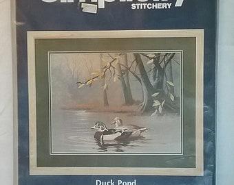 Vintage Simplicity Stitchery Crewel Kit Duck Pond Wool Yarn  B24