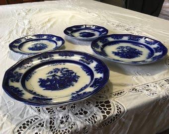 Antique Davenport Amoy Pattern Flow Blue Plates Staffordshire pottery & Antique blue plates | Etsy