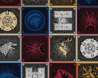 GOT fabric, house sigils, game of thrones fabric, house symbols, house lannister, house tyrell, house arryn, house targaryen, house martell,
