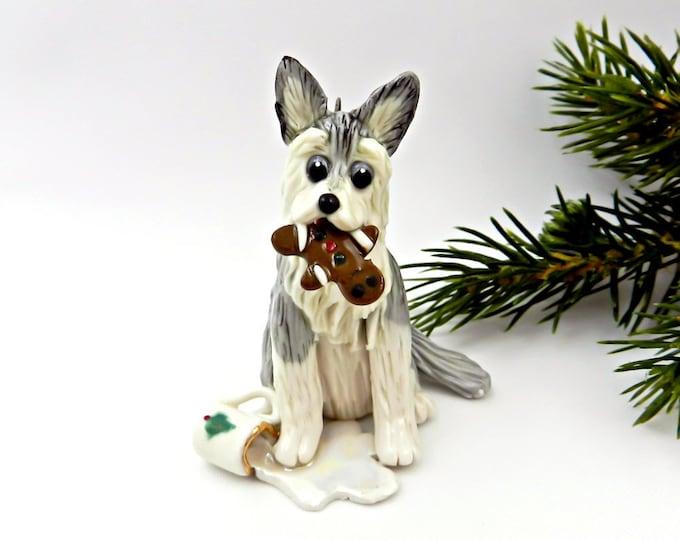 Featured listing image: Siberian Husky PORCELAIN Christmas Ornament Figurine Santa's Milk Cookie