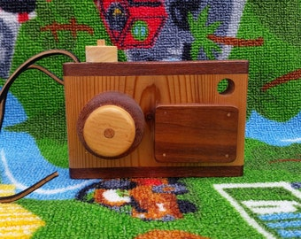 Wooden Toy Camera, handmade wooden toy camera, pretend play, organic wooden toy, all natural toy, wooden camera toy, wooden play camera