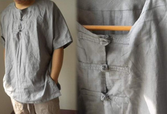 173---Men's Linen Shirt, Chinese Style Short Sleeve Top, Made to Order, S M L XL XXL.