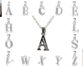 Letter Name Necklace, Minimalist Bridal Necklace, Personalized Alphabet A B C D E F G H I J K L M N O P Q R S T U V Q X Y Z Jewelry Gift