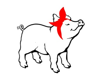 Pig With Bandana Svg Etsy
