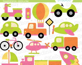 Transportation Green and Pink - Clip Art Set Digital Elements for Cards, Stationery and Paper Crafts and Products