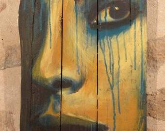 """Painting on wood """"Peine Ombre"""""""