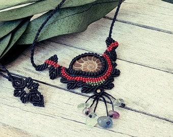 Macrame pendant necklace, Ammonite pendant, cord necklace, adjustable necklace,fossil necklace, fossil pendant, waxed cord necklace
