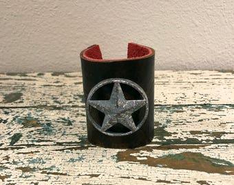 Texas Star Brown Leather Cuff