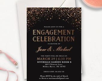 Moderne Enagement Invitaiton druckbare / Elegant Verlobungsfeier lädt / Gold Glitter druckbare Engagement Ankündigung