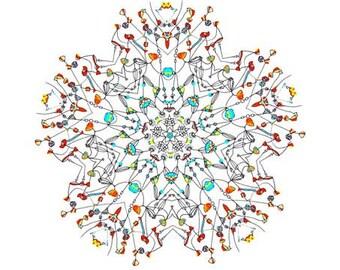 Ume - Large giclee print  - Archival print  abstract flower colorful mandala drawing mandala painting art print