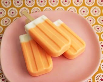 Soap Pop Dreamy - Soapy pop, Ice Pop Soap, Ice Cream Soap, Orange Soap, Vanilla Soap, Kids Soap, Soap Favors, Summertime Soap