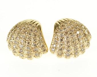 14k 2.00 Ctw Diamond Encrusted Scallop Sea Shell Earrings Gold