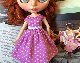 Dress in polka dots cotton doll for Blythe