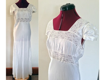 1940s Nightgown White Lace Nightgown / Vintage Capsleeve Nightgown / Vintage Wedding Nightgown / 1940s White Nightgown