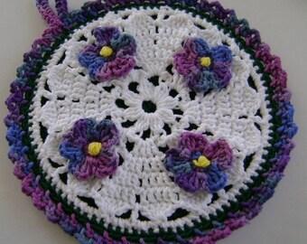 Crocheted Hot Mat Trivet Pot Holder Violets on White Variegated edging