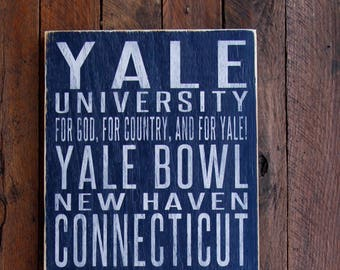 Yale University Bulldogs Distressed Wood Sign--Great Father's Day Gift!