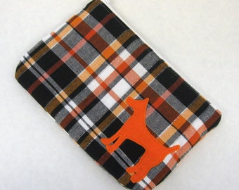 Plaid Zipper Pouch, Pumpkin, White, & Black Plaid with Appliqued Orange Dog and White Satin Lining