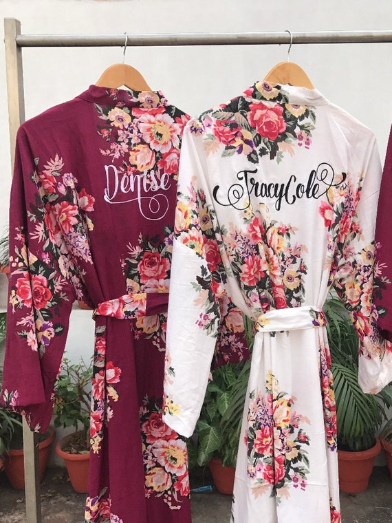 Burgundy Bridesmaid Robes Bridesmaid Robe Floral Bridesmaid