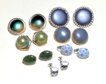 Seven pairs of vintage earrings, vintage earring lot, clip earrings, green, gray, blue clip earring lot, craft lot 1950s 1960s E82