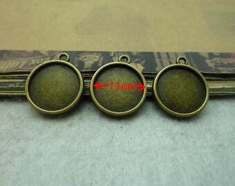 50 Stück Antik Bronze doppelseitig 14mm Runde Lünette Tasse Cabochon / Cameo-Halterungen AC6135