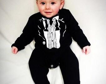 The Original Baby Dapper Tuxedo Baby Onesie - An all in one dashing, dapper one piece suit