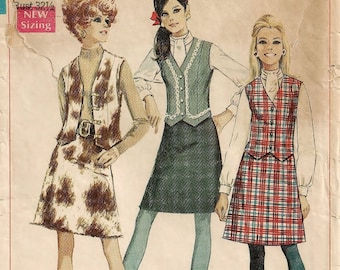 """A Long Sleeve Blouse w/Stand-Up Collar, A-Line Skirt & V-Neck Front Close Vest Pattern for Women: Size 10, Bust 32-1/2"""" • Simplicity 7808"""