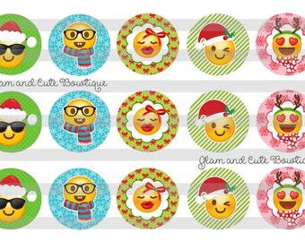 "Christmas Emojis Faces Reindeer INSTANT DOWNLOAD Bottle Cap Images 4x6 sheet 1"" circles"