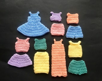 Set of 12 Old Fashioned Hand Crocheted Barbie Clothing: Spring Pastels