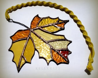 MAPLE LEAF stained glass suncatcher autumn fall leaves amber glass