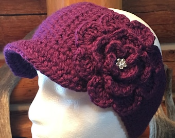 Brimmed Ear Warmer Messy Bun Crochet Hat Button Closure