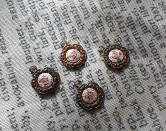 Vintage White and Pink Guilloche Enamel Rose Glass Tiny Daisy Drops 4 Pcs