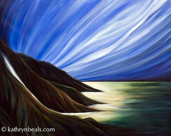 Surreal Mountain Sky Lanscape Painting - Canvas Print