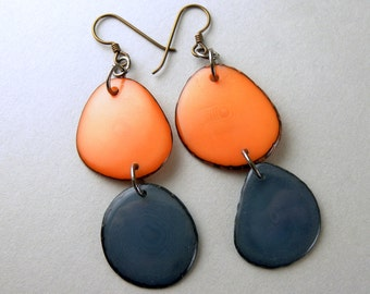 Apricot Peach and Denim Bluejeans Tagua Nut Eco Friendly Earrings with Free USA Shipping #taguanut #ecofriendlyjewelry